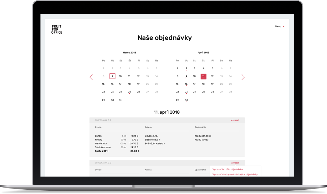 Nase objednavky - desktop - Fruit for office