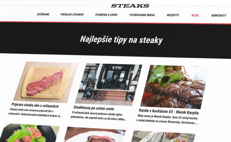 Steaks articles screen